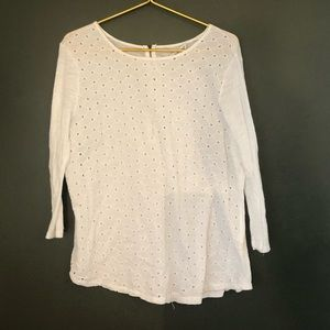 [Lucky Brand] White Cut Out Knit Blouse - XL